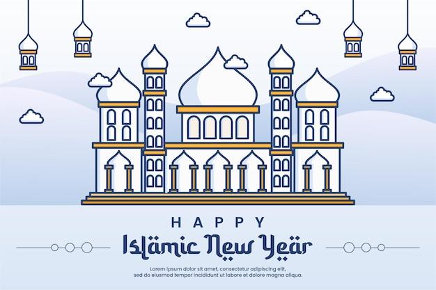Islamitisch nieuwjaar met lijn kunst moskee banner achtergrond ontwerpsjabloon