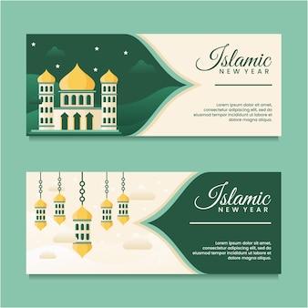 Islamitisch nieuwjaar met ontwerpsjabloon voor moskeebanner