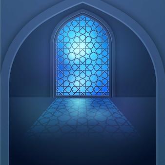 Islamitisch ontwerp achtergrondvenster met geometrisch patroon