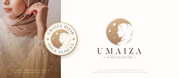 Islamitisch vrouwensilhouet dat hijab-logo-ontwerp draagt