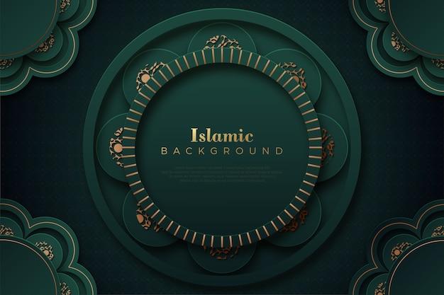 Islamitische achtergrond met donkergroen cirkelornament.