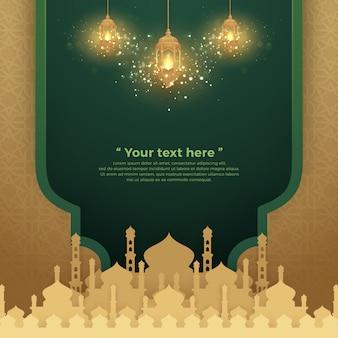 Islamitische achtergrond met gloeiende hangende lantaarn en moskee.