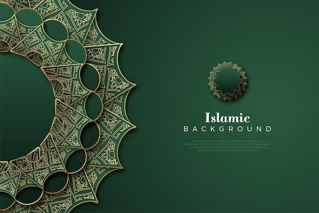 Islamitische achtergrond met luxe donkergroene kleur.