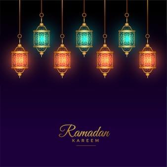 Islamitische arabische lantaarndecoratie ramadan kareem achtergrond