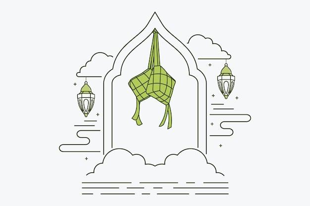 Islamitische decoratie achtergrond met ketupat, lantaarns, ramen en wolken, ramadhan kareem, maulid, iftar, isra miraj, eid al-fitr, muharram, kopieer ruimte tekstgebied, vectorillustratie.