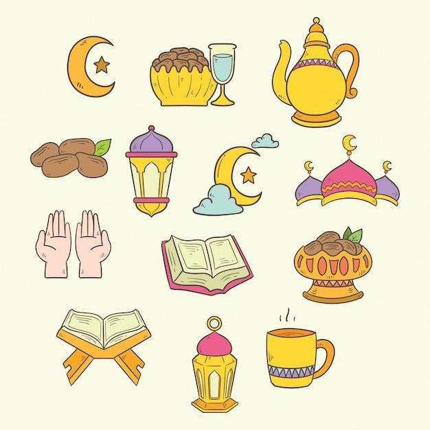 Islamitische doodle kunst ingesteld voor ramadan kareem illustratie