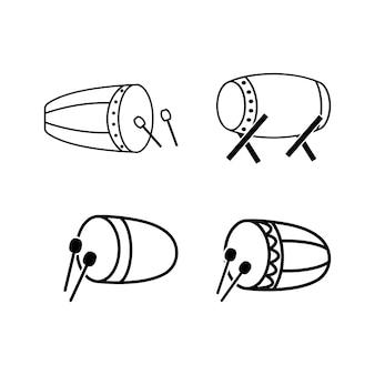 Islamitische drum pictogram ontwerpset bundel sjabloon geïsoleerd