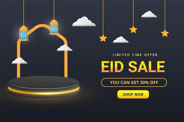 Islamitische eid-verkoopbanner met 3d podium