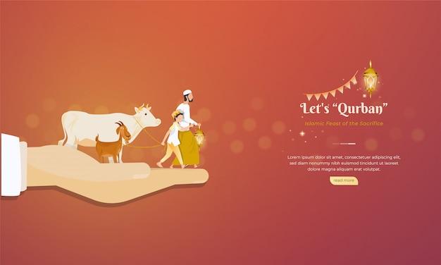 Islamitische feest van het offer voor eid al adha begroeting concept