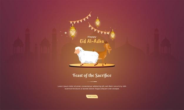 Islamitische feestdag van eid al adha met geit en schapen voor begroeting concept
