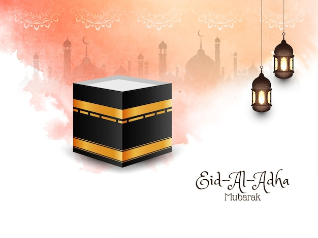 Islamitische festival eid-al-adha mubarak wenskaartrak