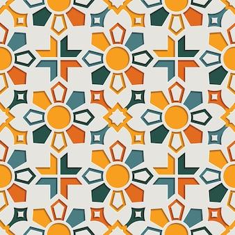 Islamitische geometrische abstracte arabesque naadloze patroon voor ramadan kareem. oost-motief papier stijl achtergrond