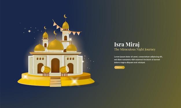 Islamitische groet met gouden moskee isra miraj of de wonderbaarlijke reis