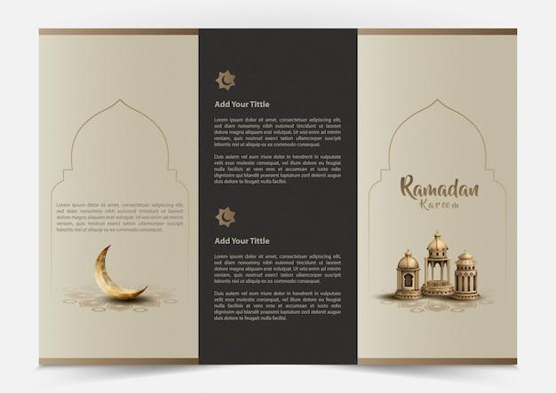 Islamitische groet ramadan kareem brochureontwerp met prachtige lantaarns en halve maan