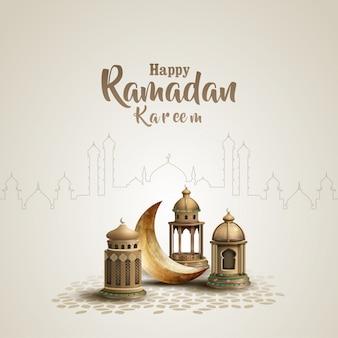 Islamitische groet ramadan kareem kaart ontwerpsjabloon met prachtige lantaarns en halve maan