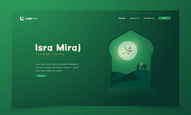 Islamitische groeten van isra miraj of het concept van de nachtelijke reis van de profeet
