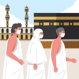 Islamitische hadj bedevaart illustratie