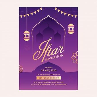 Islamitische heilige maand ramadan concept met iftar uitnodigingskaart, hangende gouden lantaarns, moskee silhouet