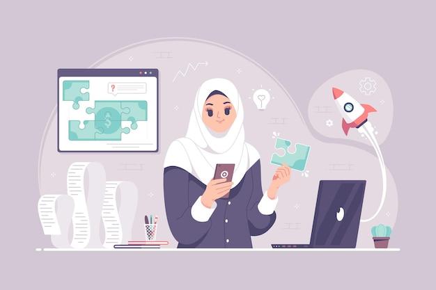 Islamitische hijab zakenvrouw met idee en geld puzzel