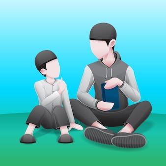 Islamitische illustratie van vader en zoon studeren