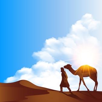 Islamitische landschaps arabische achtergrond