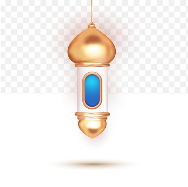 Islamitische latern 3d blauw op witte transparante achtergrond