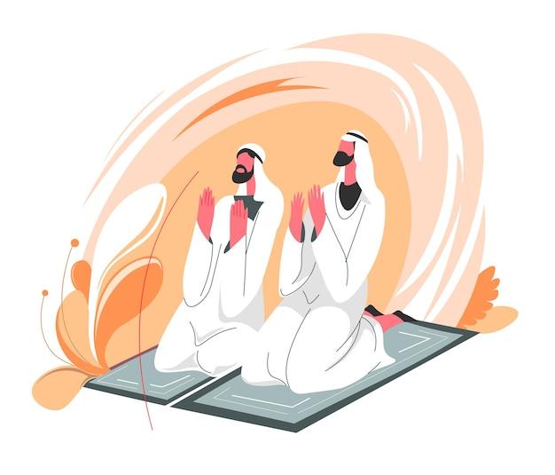 Islamitische mensen zitten op tapijt en bidden samen. mannen die traditionele moslimkleding dragen, houden elkaars hand vast en praten met allah in gebeden. midden-oosten cultuur en religie. vector in vlakke stijl