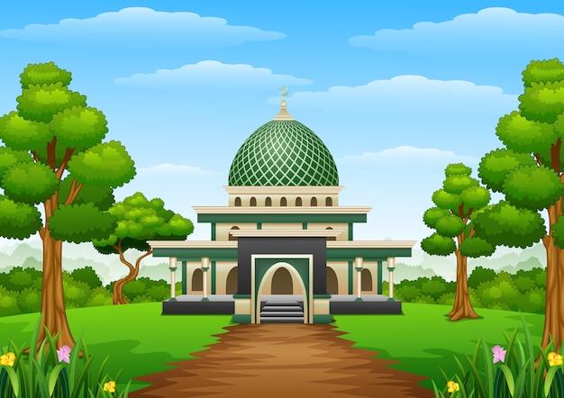 Islamitische moskee bouwen met groene koepel in het bos