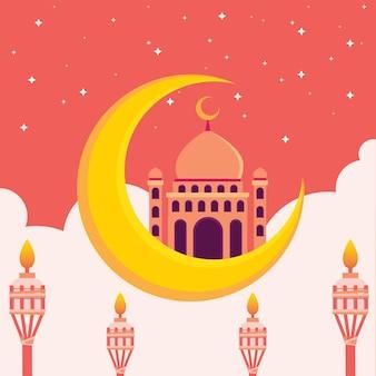 Islamitische moskee met halve maan en hemel vol sterren vlakke afbeelding hari raya aidilfitri