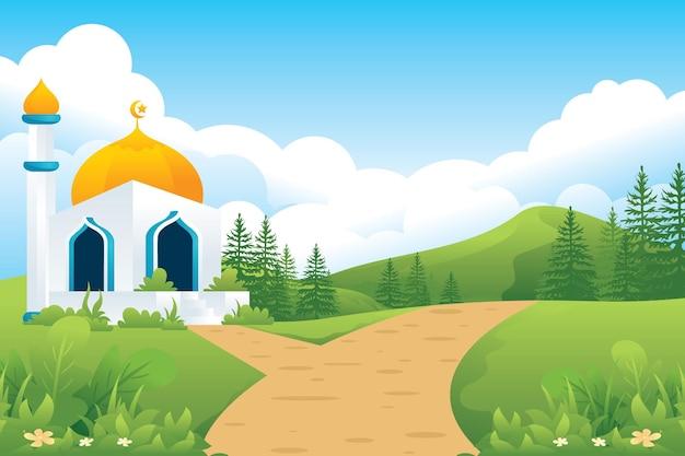 Islamitische moskee met weg, bergen, weiden en velden