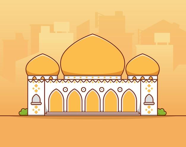 Islamitische moslim grote grote moskee met goudgele koepel in het midden van de vlakke afbeelding van het stadssilhouet