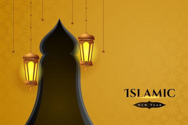 Islamitische nieuwe jaarachtergrond met realistische arabische lantaarns