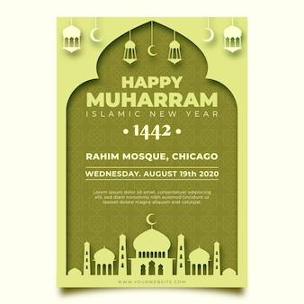 Islamitische nieuwjaar poster in papierstijl