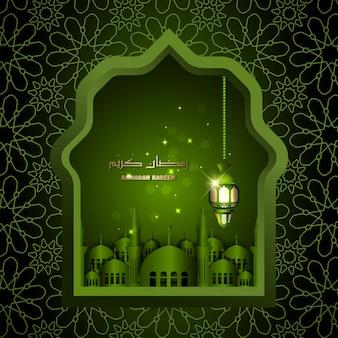 Islamitische ontwerp ramadan kareem arabische lantaarn en moskee islamitische illustratie