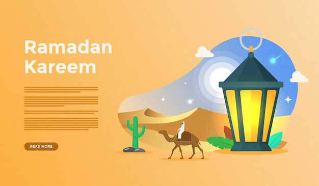 Islamitische platte ontwerp illustratie voor gelukkige eid fitr of adha mubarak en ramadan kareem met mensen karakter concept voor web bestemmingspagina sjabloon