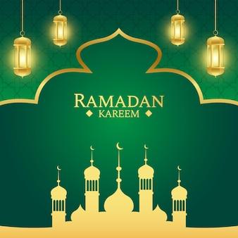 Islamitische ramadan begroeting achtergrond met gouden en groene kleur