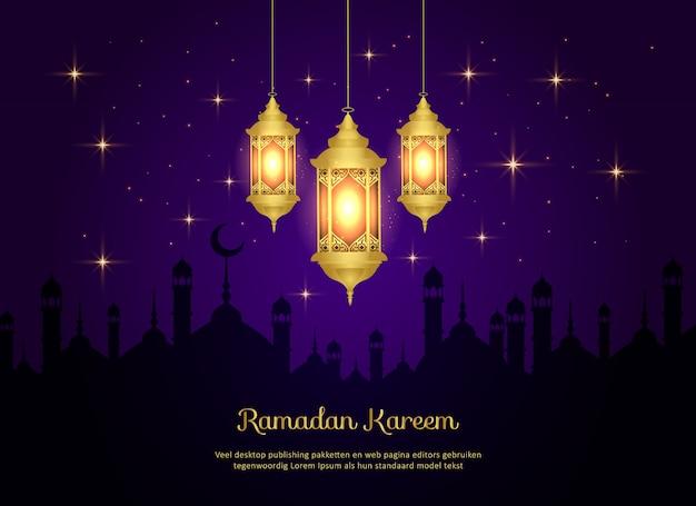 Islamitische ramadan kareem achtergrond met lampen en moskee