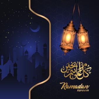 Islamitische ramadan kareem achtergrond met lampen en silhouet moskee
