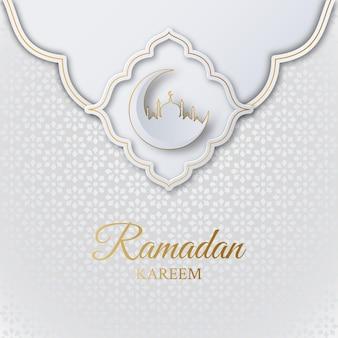 Islamitische ramadan kareem achtergrond met moskee, halve maan en geometrisch patroon