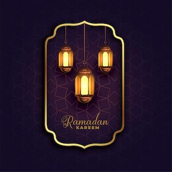Islamitische ramadan kareemachtergrond met lampen