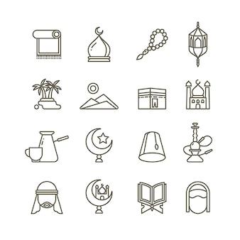 Islamitische religie dunne lijn pictogrammen