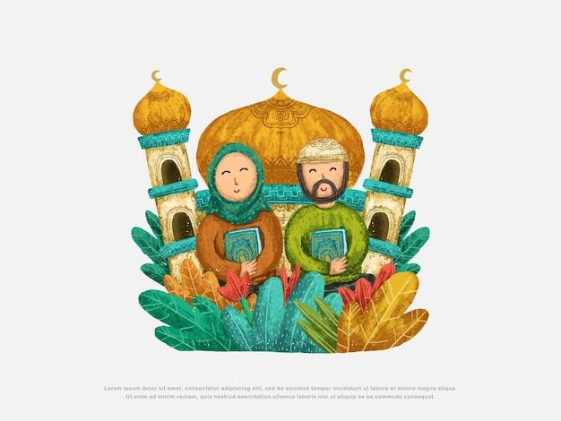 Islamitische schattige ontwerpillustraties