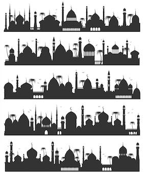 Islamitische stad skyline van silhouet set