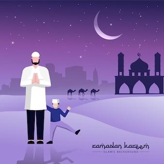 Islamitische vader en zoon karaktergroeten voor ramadan-evenement.