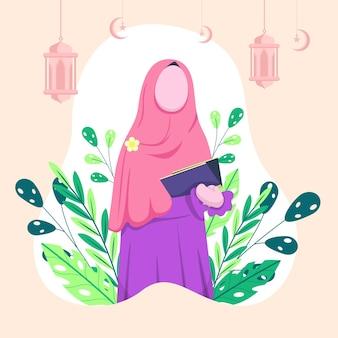 Islamitische vrouw die hijab in de hand draagt, houdt de koran vast. daarachter hing een lantaarn en een maansikkel.