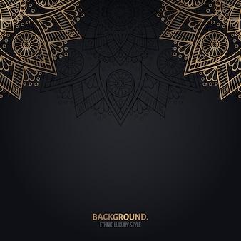 Islamitische zwarte achtergrond met gouden mandala-decoratie