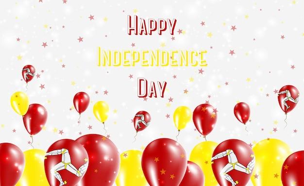 Isle of man onafhankelijkheidsdag patriottische design. ballonnen in de nationale kleuren van manx. happy independence day vector wenskaart.