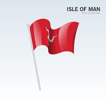 Isle of man wuivende vlag geïsoleerd op grijs