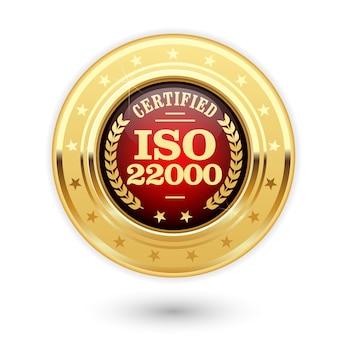 Iso 22000 gecertificeerde medaille - voedselveiligheidsmanagement