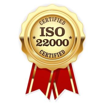Iso 22000 standaard gecertificeerde rozet - voedselveiligheidsmanagement